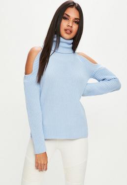 Blue Cold Shoulder Sweater