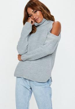 Grey Cold Shoulder Knitted Jumper