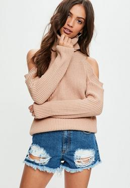 Nude Cold Shoulder Knitted Sweater