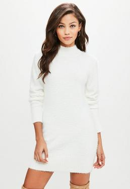 White Fluffy Roll Neck Sweater Dress
