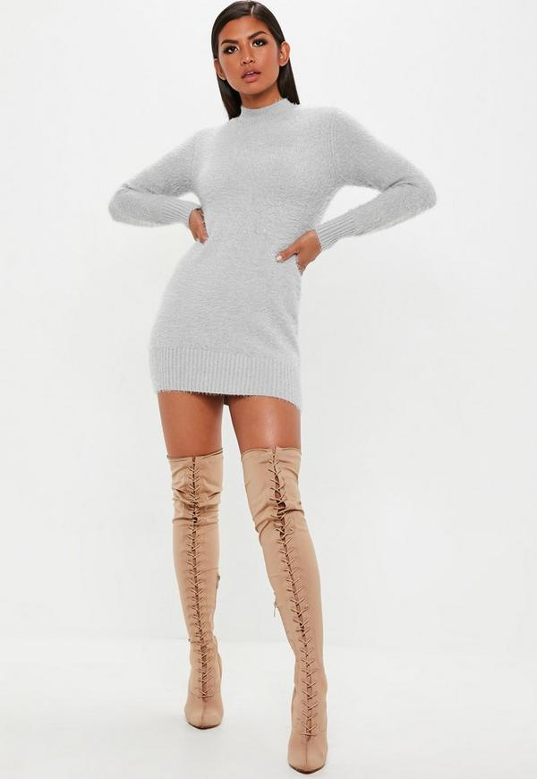 Grey Fluffy Roll Neck knitted Jumper Dress