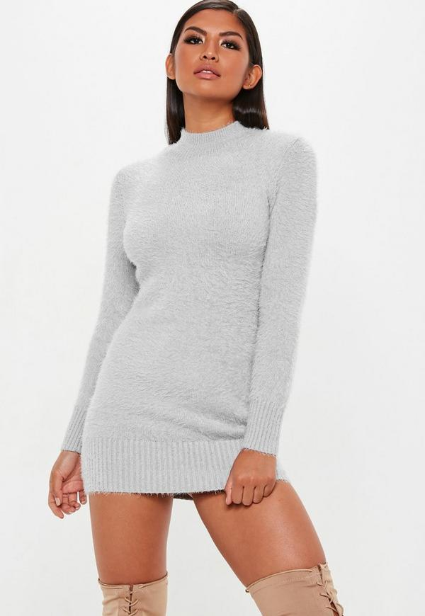 Grey Fluffy Roll Neck Knitted Jumper Dress Missguided