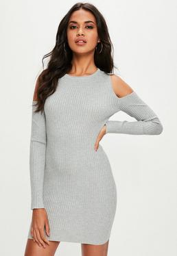 Grey Cold Shoulder Ribbed Sweater Dress