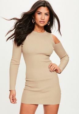 Camel Cold Shoulder Ribbed Sweater Dress