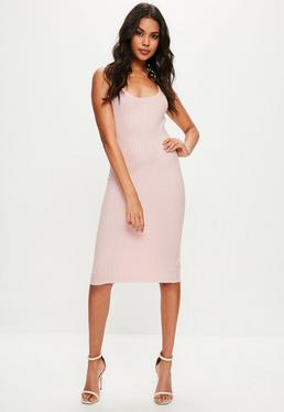 Pink Knitted Midi Dress