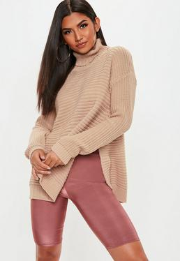 Tan Roll Neck Step Hem Knitted Jumper