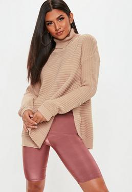 Tan Roll Neck Step Hem Knitted Sweater
