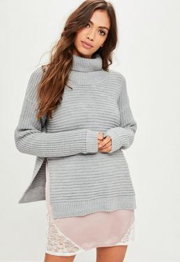Gray Roll Neck Step Hem Knitted Sweater