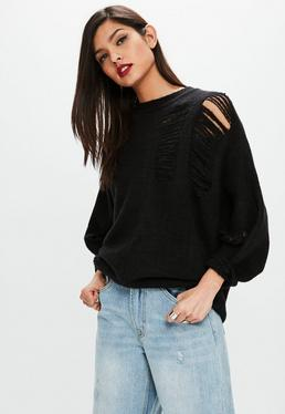 Black Distressed Batwing Sweater