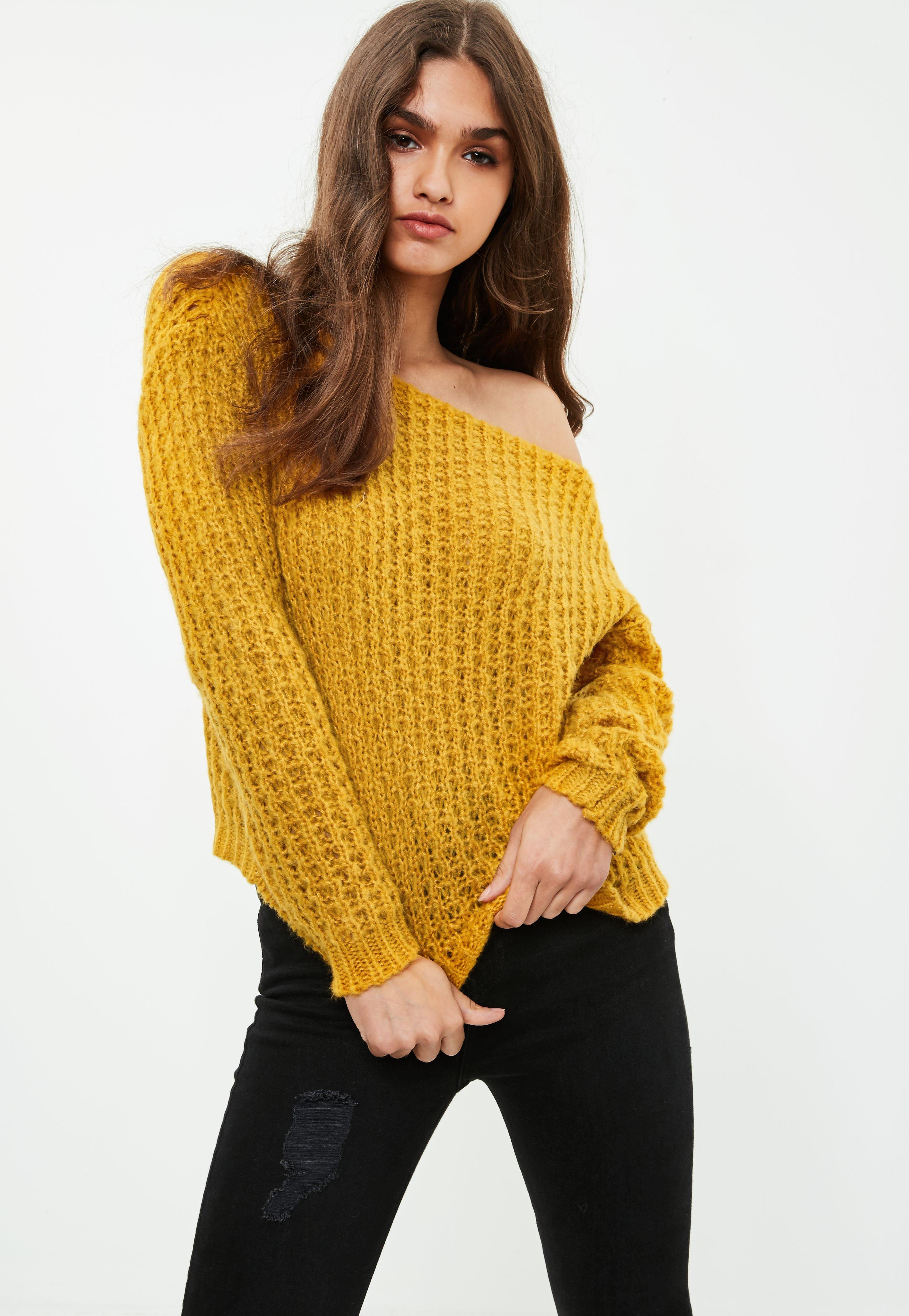 Yellow Off Shoulder Chunky Sweater | Missguided