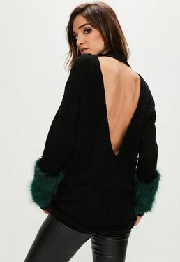 Black Faux Fur Sleeve Open Back Sweater