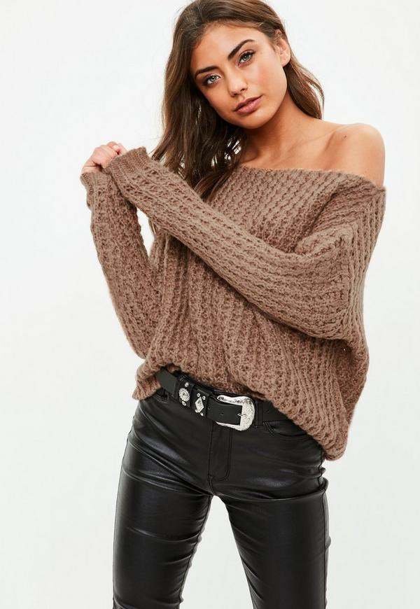 Brown Off Shoulder Chunky Sweater Missguided