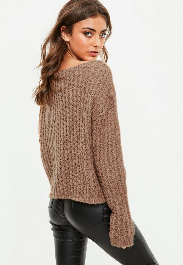 Brown Off Shoulder Chunky Sweater | Missguided