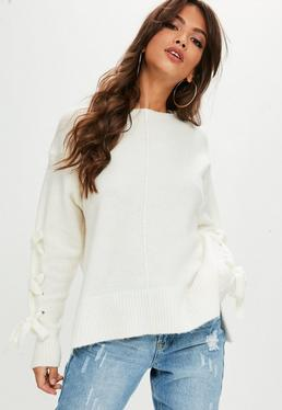 White Lace Up Batwing Sweater