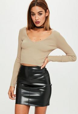 Brown V Neckline Knitted Crop Top