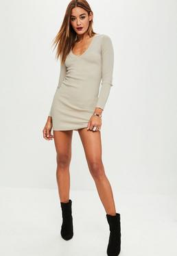 Nude Plunge Bodycon Sweater Mini Dress