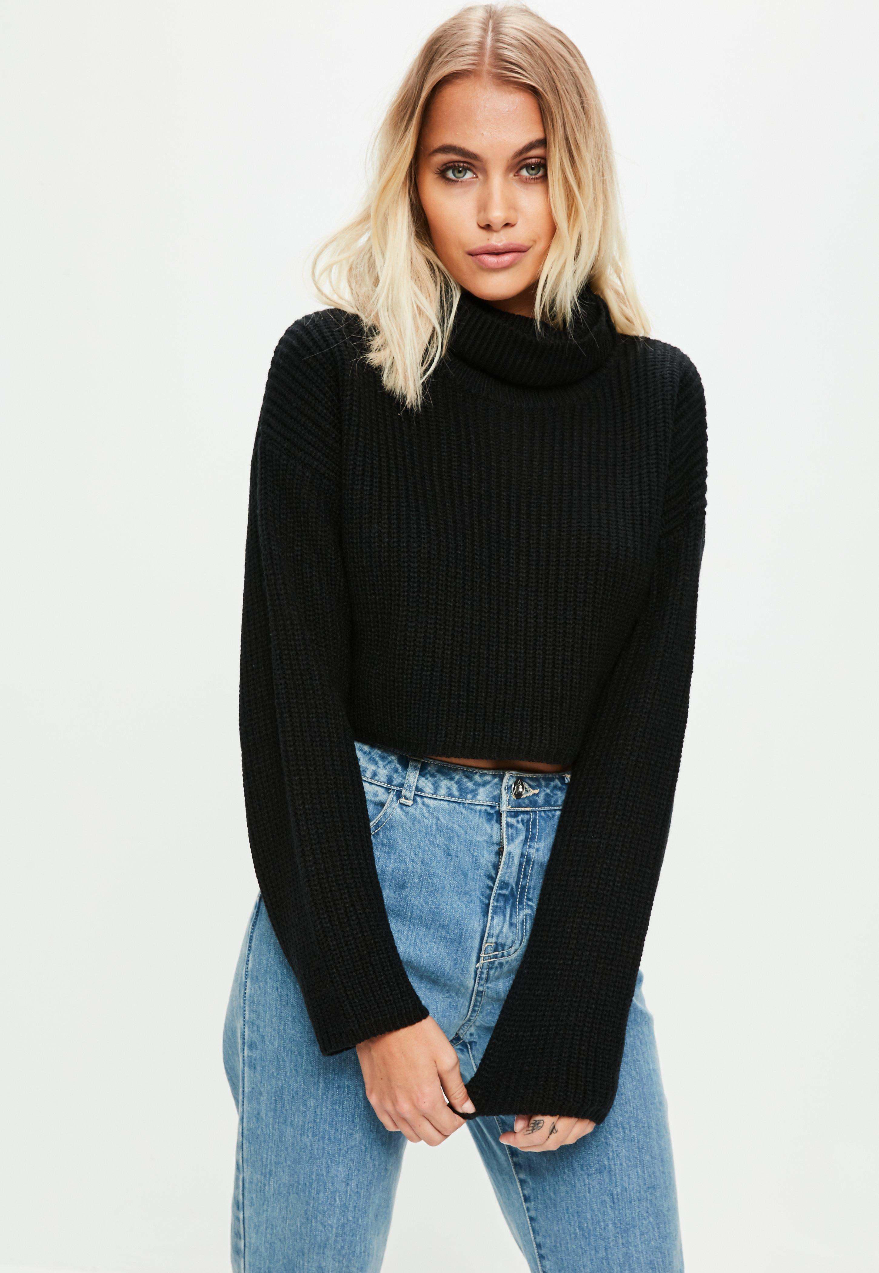 f5d09aa2899 Black Roll Neck Knitted Crop Jumper