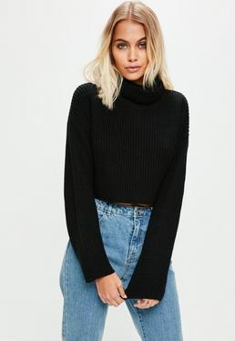 Black Roll Neck Knitted Crop Sweater