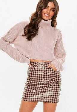 Purple Roll Neck Chunky Knitted Sweater