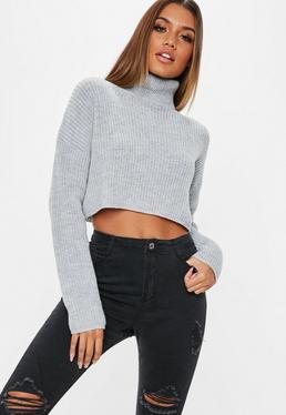 Grey Roll Neck Knitted Crop Jumper