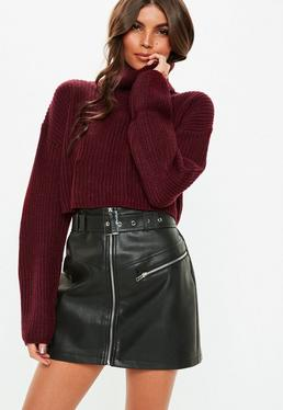 Burgundy Roll Neck Knitted Crop Sweater