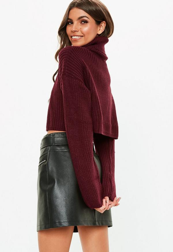 2a35ca088 Burgundy Roll Neck Knitted Crop Jumper