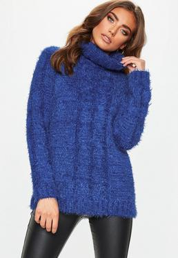 Blue Roll Neck Longline Sweater