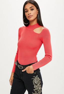 Pink Knitted Keyhole High Neck Bodysuit