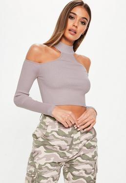 Mauve High Neck Cold Shoulder Knitted Crop Top