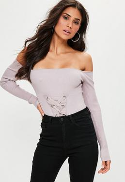 Mauve Lace Up Knitted Bodysuit