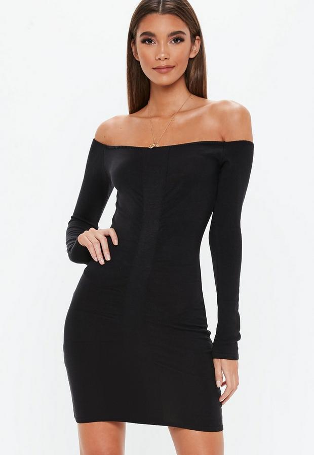 Product photo of Black ruched detail bardot mini knitted dress black