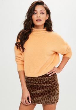 Orange Fluffy High Neck Sweater
