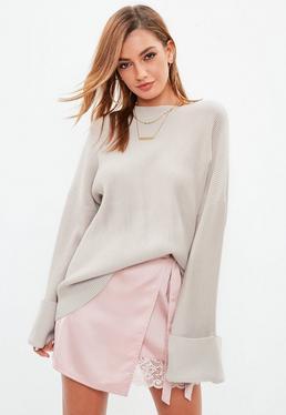 Beige Ottoman Rib Sweater