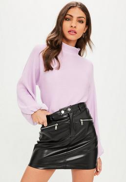 Lilac High Neck Ribbed Balloon Sleeve Sweater