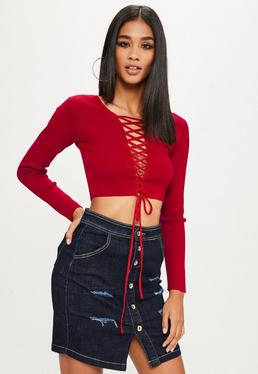 Red Lace Front Cropped Jumper