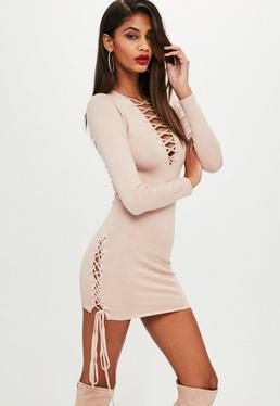 Nude Lace Up Side Bodycon Knitted Dress