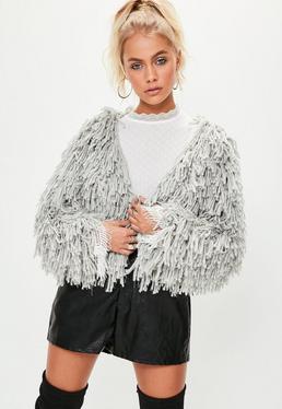 Premium Gray Shaggy Lurex Crop Cardigan