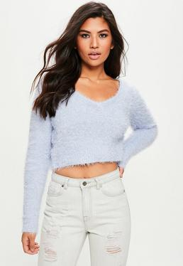 Lilac Fluffy V Neck Sweater