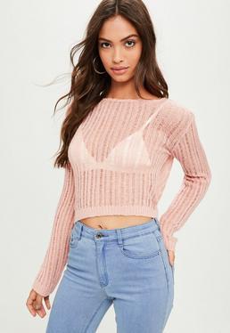 Różowy cienki sweter