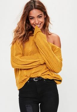 Mustard Lightweight Off Shoulder Cable Knitted Jumper