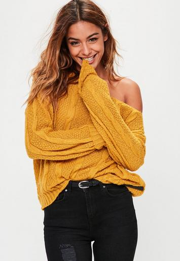 Yellow Off Shoulder Slouchy Sweater Missguided