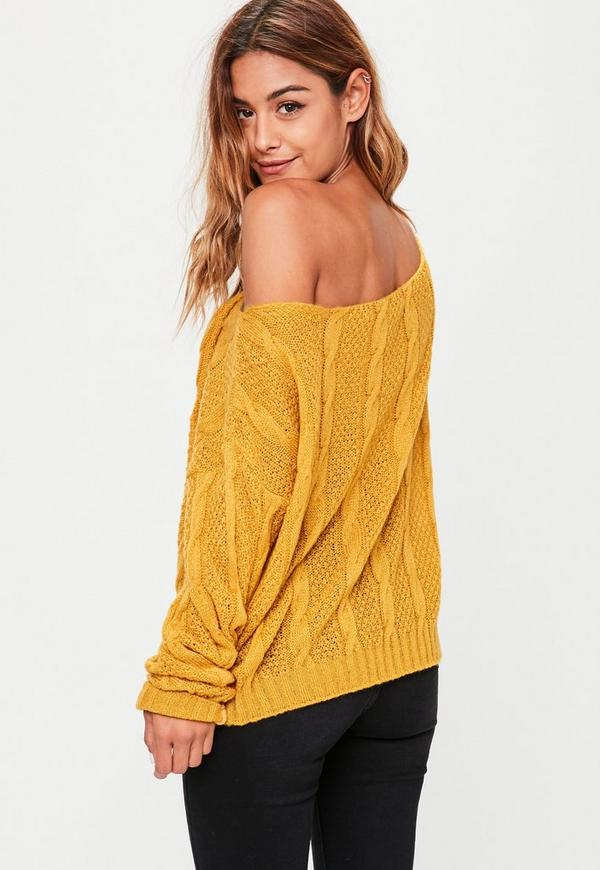 Mustard Off Shoulder Cable Knitted Jumper Missguided