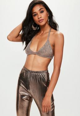 Gold Metallic Triangle Bralette