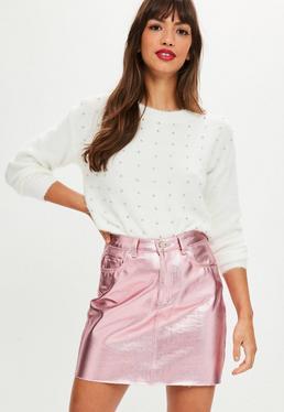 White Longline Fluffy Studded Sweater