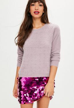 Mauve Fluffy Studded Sweater
