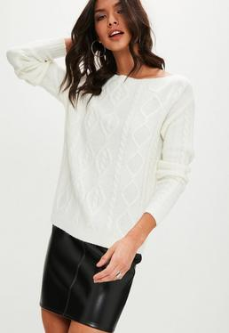 White Neck Cable Sweater