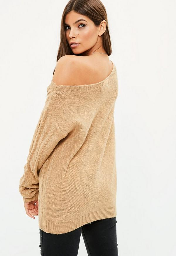 Brown Cable Sweater | Missguided