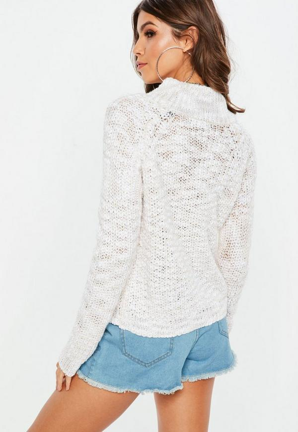 Cream High Neck Cropped Sweater | Missguided