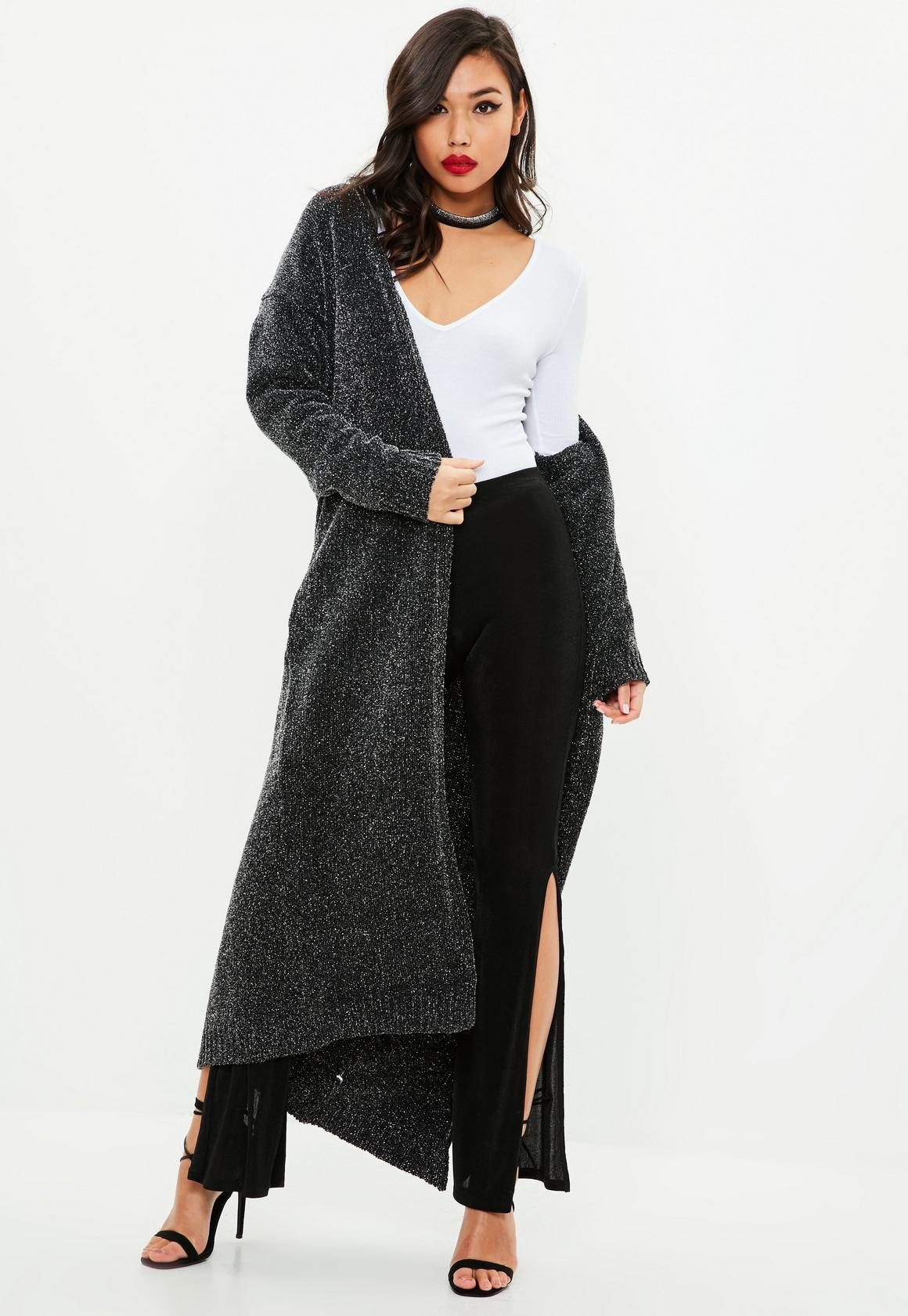 Charcoal Sparkle Maxi Cardigan | Missguided
