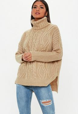 Brown Knitted Oversized Sweater